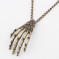 Wholesale Vintage Gothic Punk Style Fashion Skull finger Peadant Jewelry Unisex Necklace 3PCS /lot  Free shipping