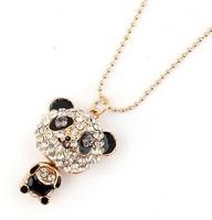 2014 New arrival fashion Full crystal panda pendant necklace.Panda sweater chain