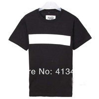 2014 new arrive men's PIGALLE  t-shirt round neck white stripe  printed classics Simple style shirt casual cotton tee brand tag