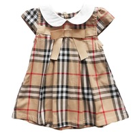 new  fashion gril's  short sleeve o-neck knaki and red bow plaid knee-length deress , summer gril's lolita style