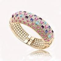 free shipping 2014 new colorfull crystal women bracelet cuff bracelets gold bangle woman jewelry