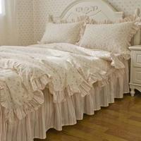 Rustic 100% slanting cotton stripe small flower bedding 100% cotton ruffle piece set piece set