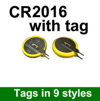 Free shipping wholesale 500pcs/lot Lithium 3V Button Cell / Coin Cell Battery CR2016 with tab