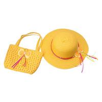 Lovely Sunflower Kids Girl Casual Children Beach Sun Straw Hat Cap + Straw Tote Handbag Bag Set fit 1-4 Years child