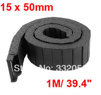15mm x 50mm Black Plastic Flexible Semi Closed Carrier Cable Drag Chain 1M
