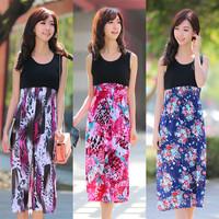 Women Summer Dresses 2014 Women's Floral Bohemian Beach Dresses Big Swing Vest Dresses 7 New Designs 3017