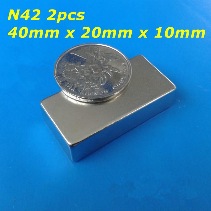 Гаджет  2pcs Bulk Super Strong N40 N42 Neodymium Rectangle Block Magnets 40mm x 20mm x 10mm Rare Earth NdFeB Rectangular Cuboid Magnet None Строительство и Недвижимость