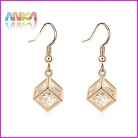 18K Gold Cube Zircon Earrings Free Shipping Made With Swarovski Elements #96249