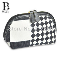Free shipping BG LADY FASHION-1105 cosmetic bag cases PU printed white & Black collection makeup bag lady's bag gift for her