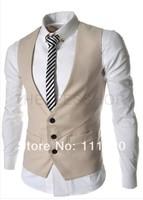 2014 Hot Selling Vingtage Men Suit Vests Slim Fit Man Dress Vest For Suit or Tuxedo  Black White Gray Invory 4 Colors