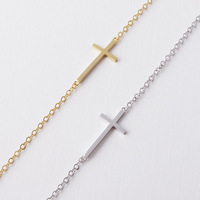 Wholesale 2014 New Trendy Simple sideway Jewelry 18k Gold Cute Cross Bracelet for Bridesmaid Bracelet Free Shipping