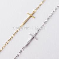 trendy Korean Simple 18k Gold Plating zinc alloy bijoux Cute Cross Bracelet  Free Shipping