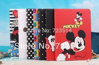 "3D cartoo ultra thin minnie mickey bow polka dog leather case cover for ipad mini&ipad air&samsung tab3 P3200 T210 8"" T310 T311"