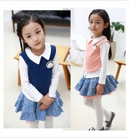 KNB 2014 New children dress suits Preppy Style girls clothing set Chiffon t shirt + tutu skirt Spring Kids clothes sets ACS008