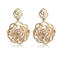 free shipping 2014 new flower gold plated earrings for women drop earrings dangle earring