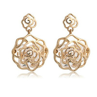 free shipping 2014 new flower gold plated earrings for women drop earrings dangle earring