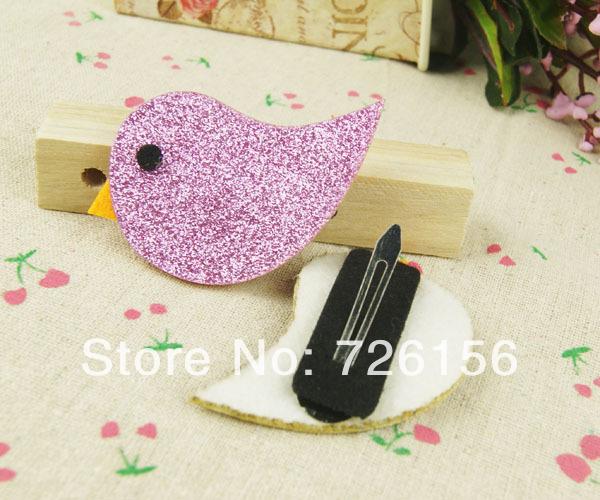 Free Shipping (120pcs/lot) Lovely Glitter Mini Bird Hair Clips Shining Bird Kids Hair Clips For Children(China (Mainland))