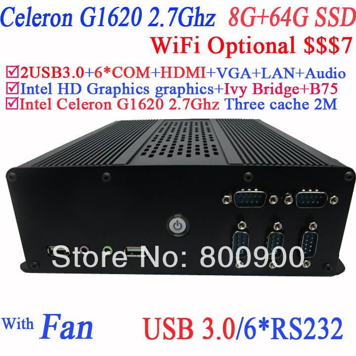 newest low power pc small pcs small linux pc with Intel dual core Celeron G1620 2.7GHz IVB Bridge 6COM HDMI 19VDC 8G RAM 64G SSD(China (Mainland))