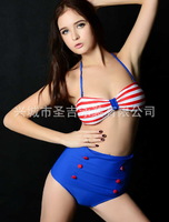 2014 new arrive Cutest Retro Swimsuit Swimwear Vintage Pin Up High Waist Bikini Set S/M/L good style and high quality  ny3083-2