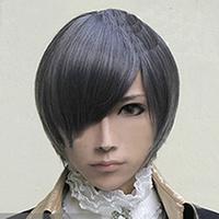 Black Butler Kuroshitsuji Ciel Phantomhive Cosplay Blue Gray Cosplay wig+wig cap