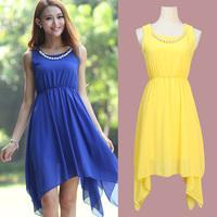 2014 Spring and Summer fashion Irregular beaded chiffon dress women sexy dress,prom dress for girls