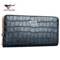 Septwolves male clutch cowhide handle bag fine man bag day clutch sa1071-08