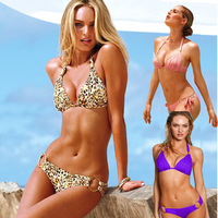 Victoria sexy leopard print bikini small steel push up bikini female hot spring swimwear