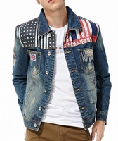 2014 fashion men British star flag hole casual denim jacket jeans jacket Classic style black blue color size XXXL