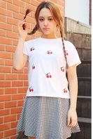 Free Shipping Spring and summer cute sweet cherries College Wind female models short-sleeved t-shirt printing