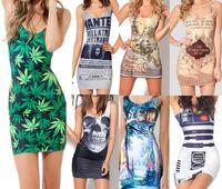 EAST KNITTING 2014 New Summer Women Dress Sexy Galaxy Slim Dresses Mini Women Clothing Drop Shipping