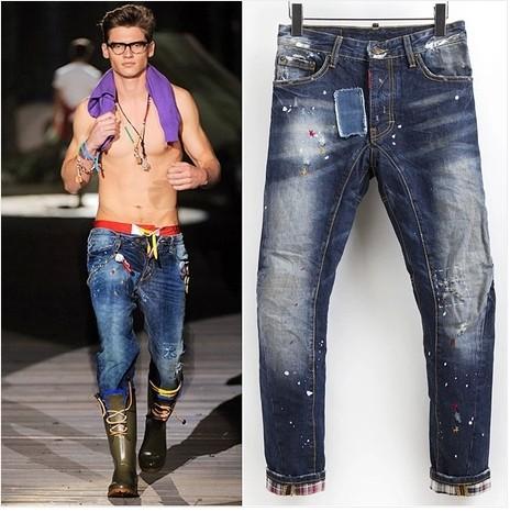 Mens Patchwork Pants Men Denim Jeans Patchwork