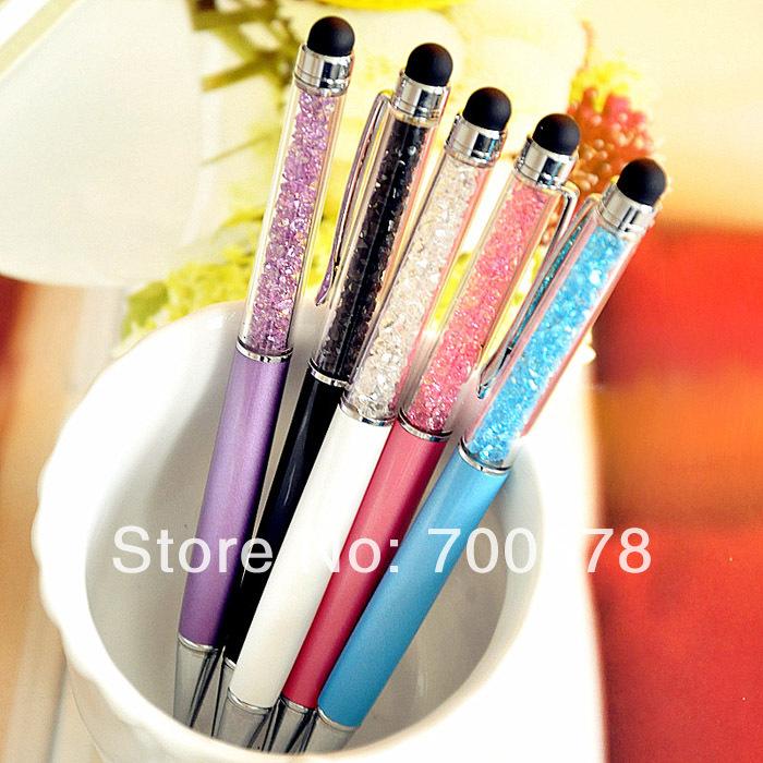 Free shipping 30pcs/lot creative Stationery crystal ballpoint pen stylus capacitor pen diamond pieces pen Ipod play pen(China (Mainland))