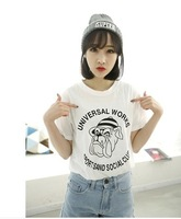 Free Shipping  Spring and summer sweet personality casual short-sleeved t-shirt female models