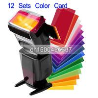 10pcs Flash Diffuser softbox Filter Color Card 12Sets Color For Camera Flash Universal