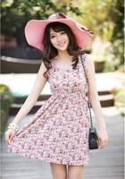 Women Summer Dresses 2014 Sweet Vest Dress Slim Round Neck Sleeveless High Waist Dresses Women Floral Dress 9 New Patterns xd392