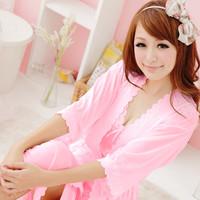 Summer silk twinset sexy temptation viscose short-sleeve sleepwear high quality women's lounge nightgown
