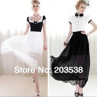 2014 New Fashion Bohemian Skirt Women Sheer High Waist Side Pleated Chiffon Maxi Long Skirt  White And Black Color