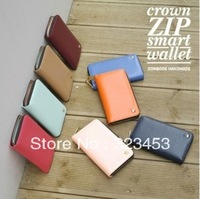 Free Shipping  korea new designer women Fashion Long Zipper wallet  PU leather coin purse Card Paper Money Pocket 9colors