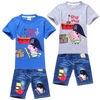 2014 summer New fashion Children Clothing Set Peppa Pig Boys T-shirt Top +jeans pants Outfit Suit Set 2pcs kids suits