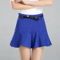 Culottes female 2014 spring and summer skorts black grape mid waist wide leg pants ruffle short culottes