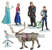 Free Shipping 6pcs/set Frozen Anna Elsa Hans Kristoff Sven Olaf PVC Action Figures Toys Classic Toys