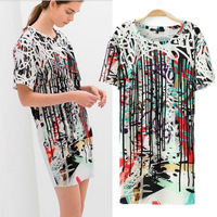 2014 New Spring Summer Brand Style Women Dress Colorful Line Printed Large Size Loose Casual Dress Basic Bottoming Long t-shirts