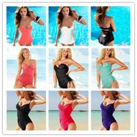 New 2014 Brand Vintage One Piece Swimsuit Push Up Sexy Swimwear Women Pad Inside Bathing Suit Ruffles Beachwear Free Shipping