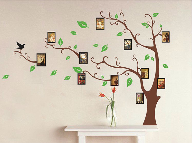 Family tree photo frame home decoration wall art vinyl for Diy family tree wall mural