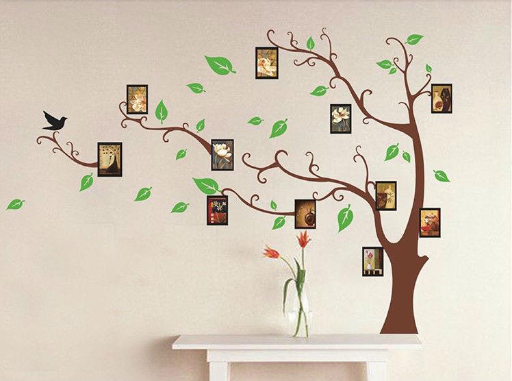 Paper Christmas Tree Wall Decoration : Family tree photo frame home decoration wall art vinyl