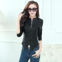 Spring Autumn Leather Jacket Female Short Design Rivet Slim Coat PU Jacket O-Neck Fashion Faux Leather Coat Plus Size XXXL XXL