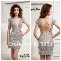 2014 Glamorous Sheer Illusion Bodice Lace Appliques Hole Beads Mini Length Graduation/Homecoming Dress V back Party Dress MC123