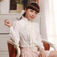 2014 Spring women's autumn slim professional white shirt female long sleeve chiffon shirt plus size blouses OL basic shirt