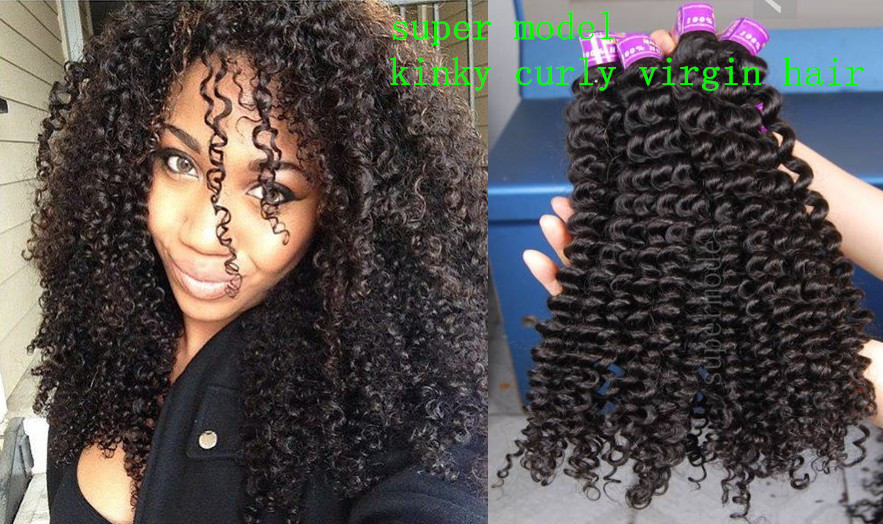 Super model 3 2015 Naturlal 1B malaysian kinky curly hair unprocessed malaysian deep curly lace