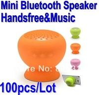 Mushroom Mini Wireless Bluetooth Speaker Hands Free Waterproof silicone Sucker suction for Samsung,phone Freeshipping 100pcs/lot